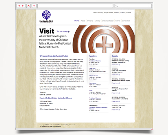 Web - Web Design - Huntsville First<br />United Methodist Church - Website 1
