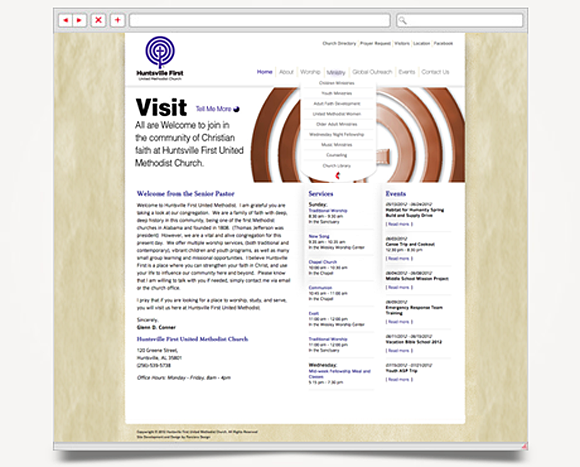 Web - Web Design - Huntsville First<br />United Methodist Church - Website 2