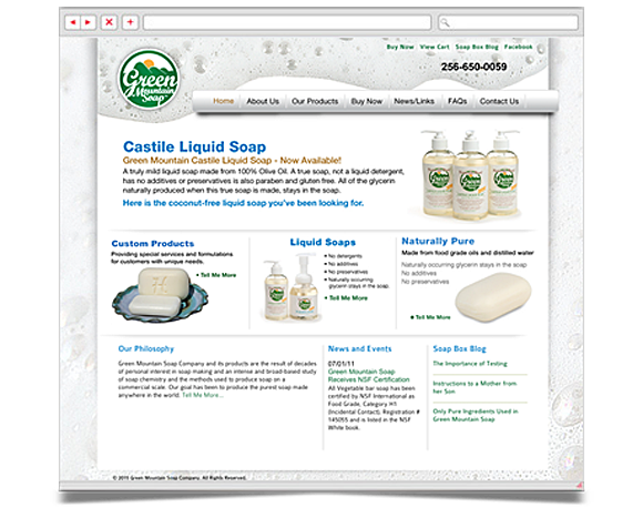 Web - Web Design - Green Mountain Soap Company - Website 1
