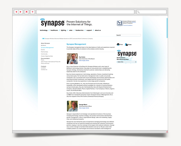 Web - Web Design - Synapse  Wireless - Website 3