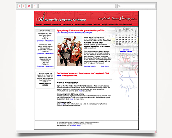 Web - Web Design - Huntsville Symphony Orchestra - Website 1