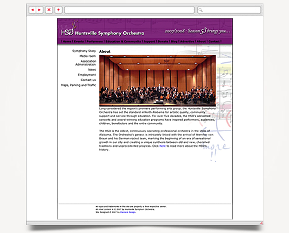 Web - Web Design - Huntsville Symphony Orchestra - Website 3